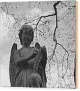 Reading Angel Wood Print by Jennifer Ancker