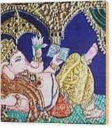 Reading Ganesha Wood Print