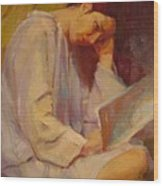 Reading In The Blue Robe  Wood Print
