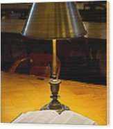 Reading Lamp And Book Wood Print