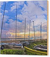 Ready For Sails Wood Print by Debra and Dave Vanderlaan
