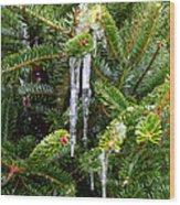 Real Christmas Icicles Wood Print
