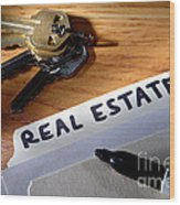 Real Estate File Folder With Marker And House Keys Wood Print by Olivier Le Queinec