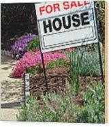 Real Estate For Sale Sign And Garden Wood Print