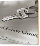 Real Estate Listing And Hosue Keys Wood Print