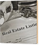 Real Estate Listing And Lock Box Wood Print
