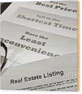 Real Estate Listing Presentation  Wood Print