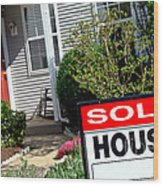 Real Estate Sold House Sign And Home For Sale Wood Print