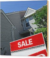 Real Estate Sold Sign And Townhouse Wood Print by Olivier Le Queinec