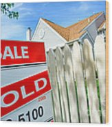 Real Estate Sold Sign Wood Print by Olivier Le Queinec