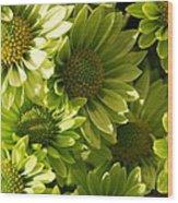 Real Green Flowers Wood Print
