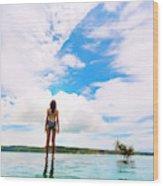 Rear View Of Woman In Bikini Standing Wood Print