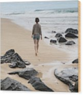 Rear View Of Woman Walking On Beach Wood Print