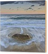 Receding Wave Stormy Seascape Wood Print by Katherine Gendreau