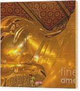 Reclining Buddha Gold Statue In Thailand Wood Print