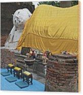 Reclining Buddha Monument Wood Print