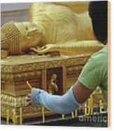 Reclining Buddha Prayer Candles Wood Print