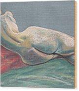 Reclining Nude Back Wood Print by Asha Carolyn Young
