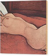 Reclining Nude With Arms Behind Her Head Wood Print by Amedeo Modigliani