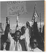 Recognize Martin Luther King Day Rally Tucson Arizona 1991 Black And White Wood Print
