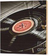 Record On Turntable Wood Print by Elena Elisseeva