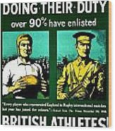 Recruiting Poster - Britain - Rugby Wood Print