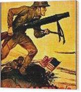 Recruiting Poster - Ww1 - Marines Over The Top Wood Print