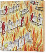Recycling In Hell Unbent Paper Clips Wood Print by Roz Chast