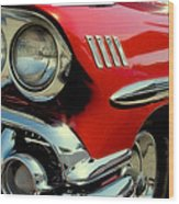 Red 1958 Chevrolet Impala Wood Print
