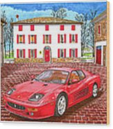 Enzo Ferrari S Garage With 1995 Ferrari 512m Wood Print