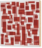 Red Abstract Patches Wood Print