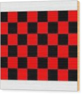 Red And Black Checkered Flag Wood Print