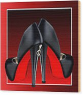 Red And Black High Heel Shoes Wood Print