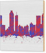 Red And Blue Art Print Of The Skyline Of Atlanta Georgia Usa Wood Print