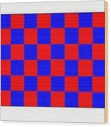 Red And Blue Checkered Flag Wood Print