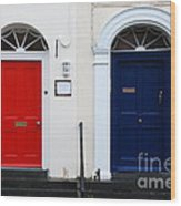 Red And Blue Doors Wood Print