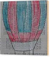 Red And Blue Hot Air Balloon In Paris Fashion Wood Print