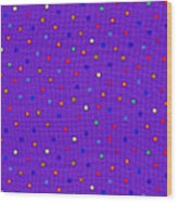 Red And Blue Polka Dots On Purple Fabric Background Wood Print