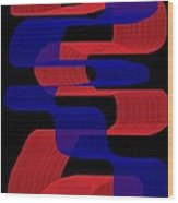 Red And Blue Ribbons Wood Print