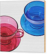 Red And Blue Teacups. Wood Print