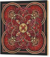 Red And Gold Celtic Cross Wood Print