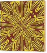 Red And Gold Christmas Kaleidescope Wood Print