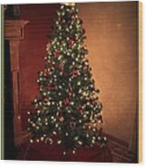 Red And Gold Christmas Tree With Caption Wood Print