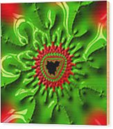 Red And Green Abstract Fractal Art Wood Print