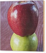 Red And Green Apples Wood Print