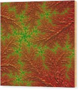 Red And Green Digital Fractal Artwork Wood Print