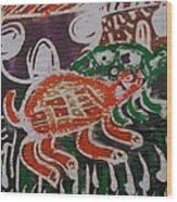 Red And Green Tortoise On Their Way To Bush Wood Print