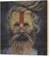 Red And Orange Sadhu Wood Print