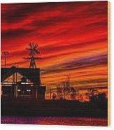 Red And Orange Sky Wood Print