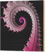Red And Pink Fractal Spiral Wood Print